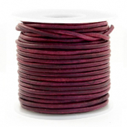 DQ Leer rond 3 mm Vintage tyrian purple
