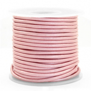 DQ Leer rond 3 mm Powder pink metallic
