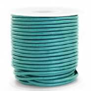 DQ Leer rond 3 mm Tiffany blue metallic