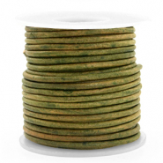 DQ Leer rond 3 mm Vintage moss green