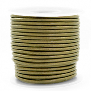 DQ Leer rond 3 mm Olive green metallic