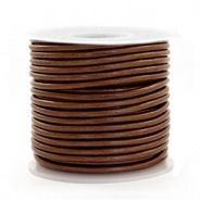 DQ Leer rond 2 mm Pecan brown metallic