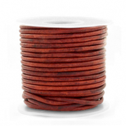 DQ Leer rond 2 mm Vintage burgundy red