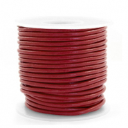 DQ Leer rond 2 mm Carmine red