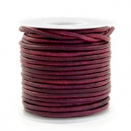 DQ Leer rond 2 mm Vintage tyrian purple