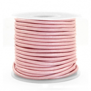 DQ Leer rond 2 mm Powder pink metallic