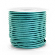 DQ Leer rond 2 mm Tiffany blue metallic