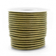 DQ Leer rond 2 mm Olive green metallic