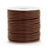 DQ Leer rond 1 mm Pecan brown metallic