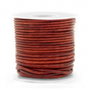 DQ Leer rond 1 mm Vintage burgundy red