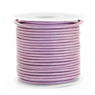 DQ Leer rond 1 mm Lilac purple metallic