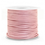 DQ Leer rond 1 mm Powder pink metallic