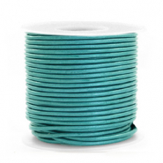 DQ Leer rond 1 mm Tiffany blue metallic