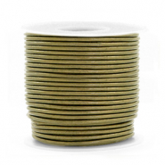 DQ Leer rond 1 mm Olive green metallic