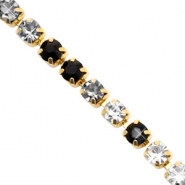 Strass chain Black crystal-gold