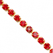 Strass chain Siam red-gold