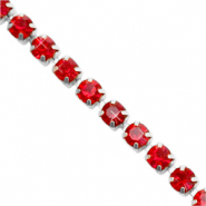 Strass chain Siam red-silver