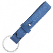Cuoio sleutelhangers leer 15mm Victoria blue