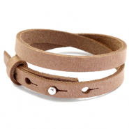 Cuoio armbanden leer 8 mm dubbel voor 12 mm cabochon Toasted nut brown