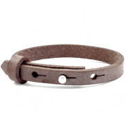 Cuoio armbanden leer kids 8mm voor 12mm cabochon Graphite brown