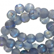 6 mm glaskralen mat holographic line Blue grey