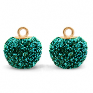 Pompom bedels met oog glitter 12mm Fir green-gold