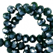 Top Facet kralen 8x6 mm disc Eden green-pearl shine coating
