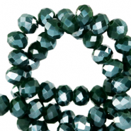 Top Facet kralen 6x4 mm disc Eden green-pearl shine coating