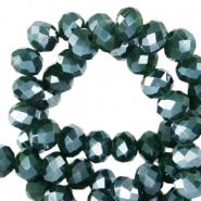 Top Facet kralen 3x2 mm disc Eden green-pearl shine coating