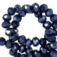 Top Facet kralen 4x3 mm disc Anthracite blue-pearl shine coating