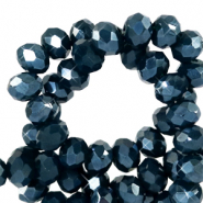 Top Facet kralen 6x4 mm disc Depths blue-pearl shine coating