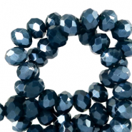 Top Facet kralen 4x3 mm disc Depths blue-pearl shine coating