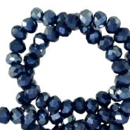 Top Facet kralen 3x2 mm disc Depths blue-pearl shine coating
