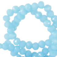 Top Facet kralen 4x3 mm disc Sky blue-pearl shine coating