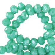 Top Facet kralen 3x2 mm disc Emerald turquoise green-pearl shine coating