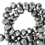 Top Facet kralen 4x3 mm disc Grey metallic-pearl shine coating