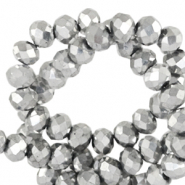 Top Facet kralen 6x4 mm disc Silver metallic-pearl shine coating
