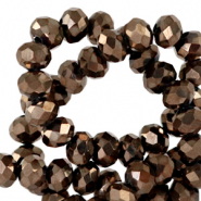 Top Facet kralen 8x6 mm disc Jet brown metallic-pearl shine coating