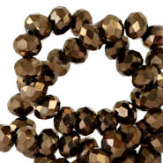 Top Facet kralen 6x4 mm disc Jet brown metallic-pearl shine coating