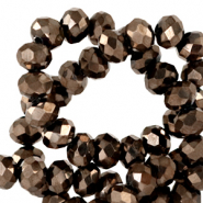 Top Facet kralen 4x3 mm disc Jet brown metallic-pearl shine coating