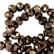 Top Facet kralen 3x2 mm disc Jet brown metallic-pearl shine coating