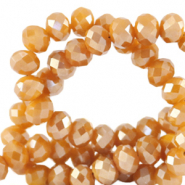 Top Facet kralen 4x3 mm disc Bleached apricot orange-pearl shine coating