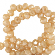 Top Facet kralen 4x3 mm disc Peachy beige-half gold shine coating