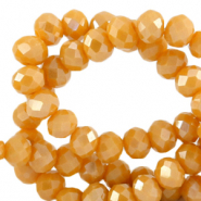 Top Facet kralen 6x4 mm disc Ceylon yellow-pearl shine coating