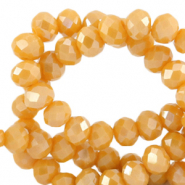 Top Facet kralen 4x3 mm disc Ceylon yellow-pearl shine coating