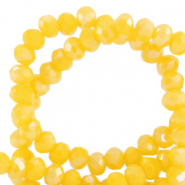 Top Facet kralen 3x2 mm disc Golden glow yellow-pearl shine coating