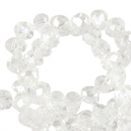 Top Facet kralen 4x3 mm disc Crystal-pearl shine coating