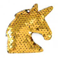 Bedel 1 oog pailletten unicorn Gold