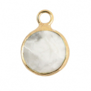 Natuursteen hangers 10mm White marble-gold