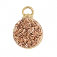 Natuursteen hangers crystal quartz 10mm Copper-gold